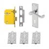 Aglio Victorian Scroll Handle Door Kit - Keyhole Lock Set - Polished Chrome