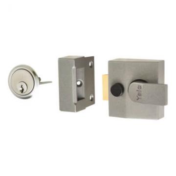 Yale® 85 Double Locking Nightlatch - 40mm Backset - Grey Case/satin Chrome Cylinder