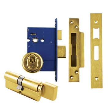 Bs8621 Euro Sashlock & Thumbturn Cylinder - Case 78mm - Backset 57mm - Pvd Brass - Square Forend