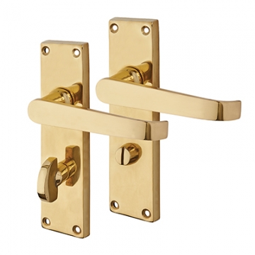 Touchpoint Budget Straight Door Handle - Privacy Set - Polished Brass