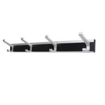 Union® Architectural Hat & Coat Hook Rail - 4 Hooks - Silver