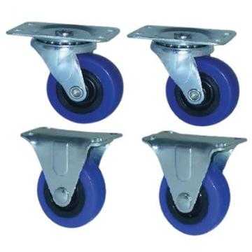Coldene Castor Set - 2 X Swivel / 2x Fixed - 40kg - Blue