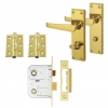 Aglio Victorian Handle Door Kit - Bathroom Lock Set - Polished Brass