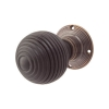 Olde Forge Beehive Door Knob Set - Ebony - Antique Brass Rose