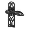 Elden Cottage Door Handle - Keyhole Lock Set - Antique Black Iron