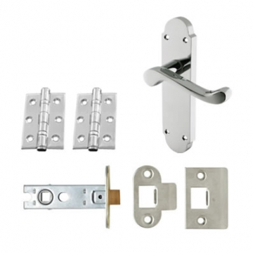 Aglio Victorian Summer Door Handle Kit - Latch Set - Polished Chrome