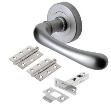 M Marcus Donna Door Handle - Door Kit - Satin Chrome