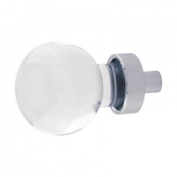 Aglio Globe Glass Cabinet Knob - 27mm - Polished Chrome