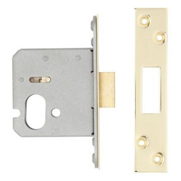 A-spec Architectural Oval Deadlock - 65mm Case - 44mm Backset - Pvd Brass