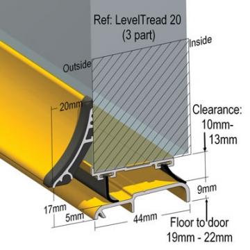 Stormguard Leveltread 20 3-part Threshold - 914mm - Silver