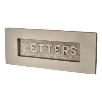 M Marcus Embossed Letter Plate - 254 X 102mm - Satin Nickel