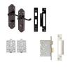 Aglio Ashmead Handle Door Kit - Bathroom Set - Black Nickel