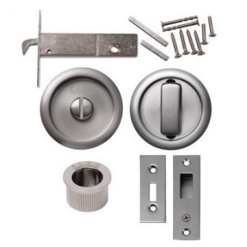 Kl▄g Round Flush Privacy Set With Bolt - Satin Nickel
