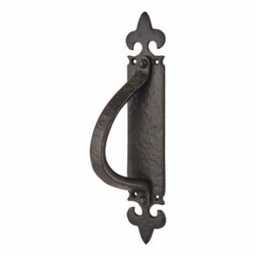 Elden Fleur De Lys Pull Handle On Finger Plate - Right Hand - 260 X 45mm - Antique Black Iron