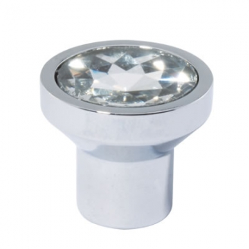 Aglio Flat Crystal Glass Cabinet Knob - 21mm - Polished Chrome