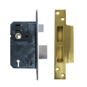Legge Heavy Pattern Bs3621:2007 5 Lever Sashlock - 64mm Case - 44mm Backset - Polished Brass