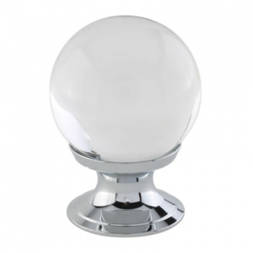Aglio Ball Glass Cabinet Knob - 30mm - Polished Chrome
