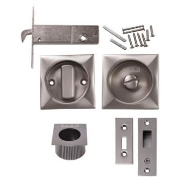 Kl▄g Square Flush Privacy Set With Bolt - Satin Nickel