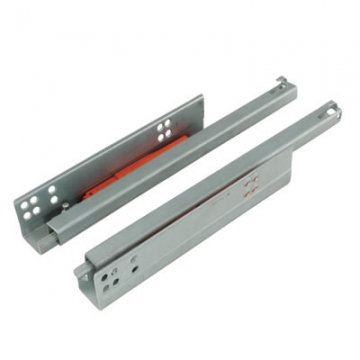 Motion Base Mounted Drawer Runner - Push-to-open - Single Extension - 350mm - Zinc