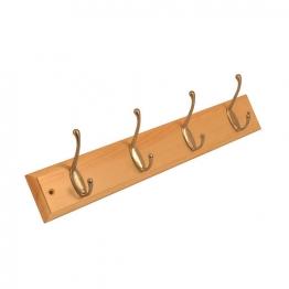 4trade Hat And Coat Hook Rail Pine / Satin Nickel (4 Hooks)