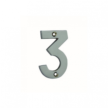 4trade Numeral 3 Face Fix Chrome Plated 75mm