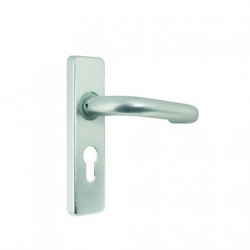 Round Bar Rose Lever Handle Euro Profile Satin Anodised Aluminium 19mm