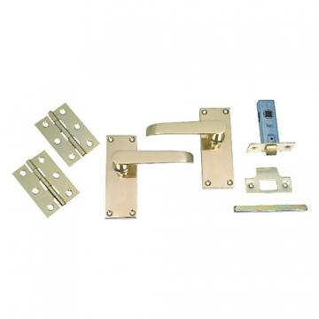 4trade Brass Victorian Latch Door Pack