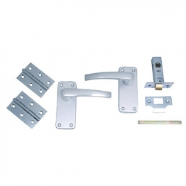 4trade Manila Complete Latch Door Pack Satin Anodised Aluminium