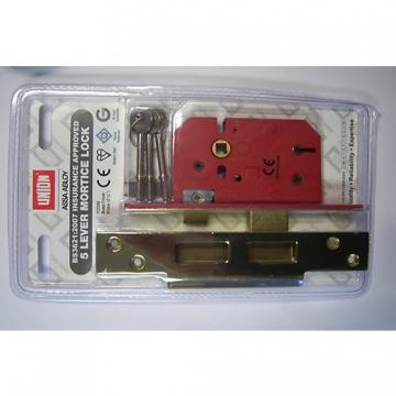 Union 5 Lever Mortice Lock Brass 64mm