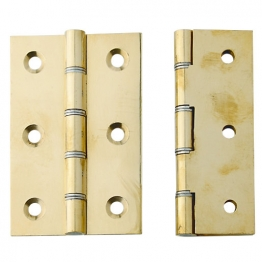 4trade Pol Brass Double Phosphor Bronze Washered Butt Hinge 76mm X 50mm X 3mm Pack Of 2