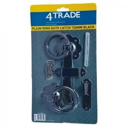 4trade Plain Ring Gate Latch Black 150mm
