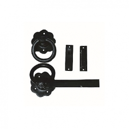 4trade Black Antique Ring Gate Latch 152mm