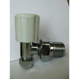 Iflo 10mm Angled Wheelhead/lockshield Chrome Radiator Valve 8mm Reducer
