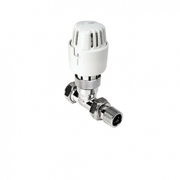 4trade Straight Thermostatic Radiator Valve Chrome Body White Head 15mm