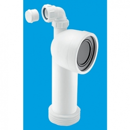 Mcalpine Wc-con8v 90 Degree Bend Adjustable Length Rigid Wc Connector With Vent Boss 4in X 110mm