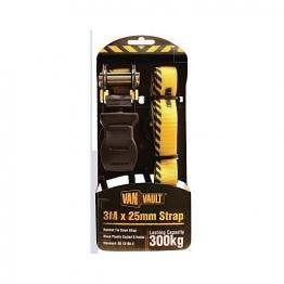 Van Vault Ratchet Tie Down Strap Black 3m X 25mm
