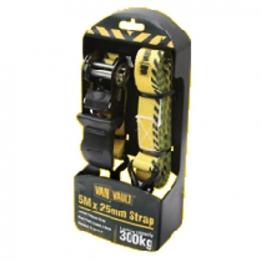 Van Vault Ratchet Tie Down Strap Black 5m X 25mm