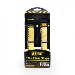 Van Vault Cambuckle Endless Strap Black Metal Clasp (pair) 1m X 25mm