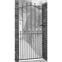 Burbage Ma36 Manor Ball Top Tall Metal Garden Side Gate Fits 1220mm Gap X 1943mm High Black Colour