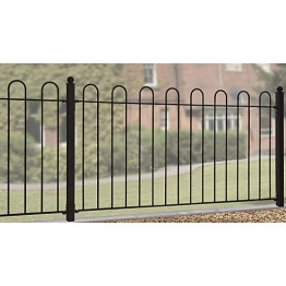 Burbage Cr01 Court Hoop Top Metal Black Fence Panel 950mm X 1830mm