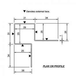 Cedral Ext Corner Symmetric L=3m Alu C10 Blue Grey
