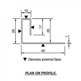 Cedral End Profile 45/26/10/17 L=3m Alu C18 Slate Grey
