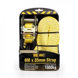 Van Vault 6m X 35mm Rachet Tie Down Strap Black Plastic Ratchet Handle And J Hooks