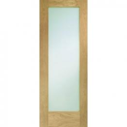 Hardwood Oak Shaker Pattern 10 Internal Door With Obscure Glass Height 1981mm