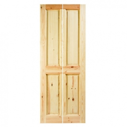 35mm Internal Knotty Pine 4 Panel Bi-fold Door. Imperial 6'6