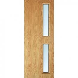 Internal Flush Oak Veneer Fd30 Fire Door 16g Clear Glazed 1981mm X 762mm X 44mm