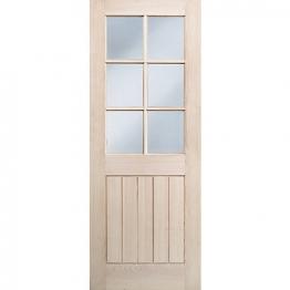 Hardwood Oak Suffolk 6 Light Glazed Internal Door 1981mm X 686mm X 35mm