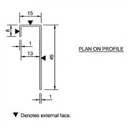 Cedral Connection Profile 45/15/8 L=3m Alu C06 Grey Green