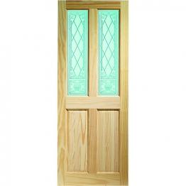 Pine Victorian Burns 2 Light Glazed Internal Door 1981mm X 762mm X 35mm